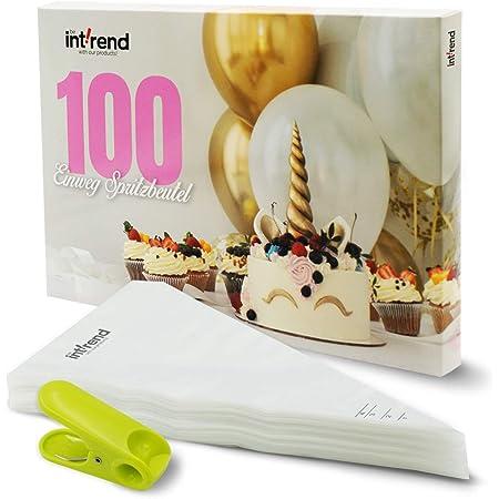 int!rend Poches à douille jetables   100 Poches patissières pour décoration et glaçage du gâteaux pâtisserie etc.