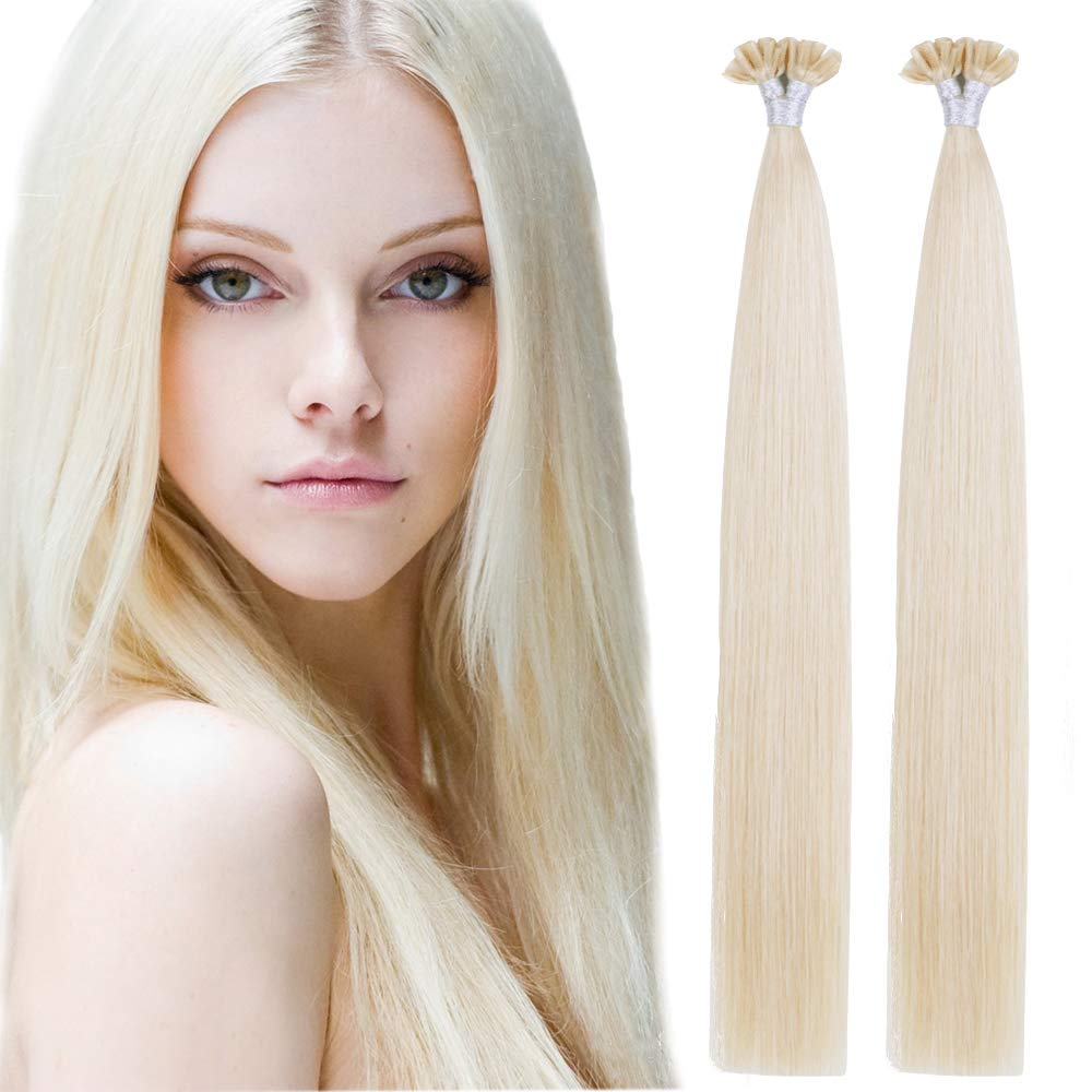 Creamily U Tip Hair Clearance SALE! Limited time! Extensions 18inch Max 80% OFF Platin Human Straight