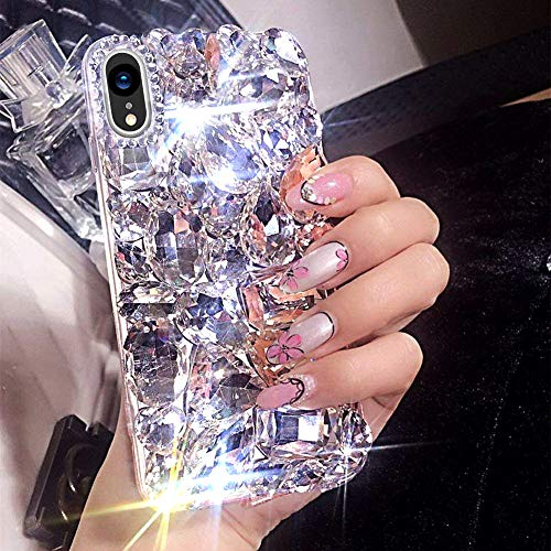 Surakey - Cover ONLYX00019 per iPhone XR, in silicone TPU, con glitter e strass, brillante