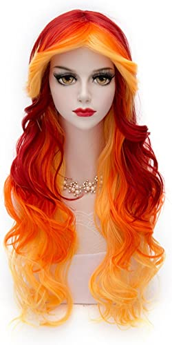Women Orange Yellow Wigs, MQ Long Curly Wavy Wig for Girls 29.5 Inch Halloween Colorful Wigs Cosplay Costume Party Fl...