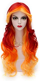 Women Orange Yellow Wig, MQ Long Curly Wavy Wig for Girls 29.5 Inch Halloween Colorful Wigs Cosplay Costume Party Fluffy Wig Synthetic Charming Heat Friendly Ombre Wigs (Yellow to Orange to Red)