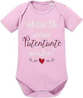 clothinx Baby Body Unisex Willst du Meine Patentante Werden | Schönes Geschenk für die Taufpatin | Qualitativ Hochwertig Bedruckt | 100% Bio-Baumwoll Baby-Body Bio