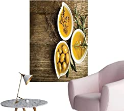 Wall Art Prints Little Bowls Herbs Wooden Background Mediterranean Theme Brown for Living Room Ready to Stick on Wall,28