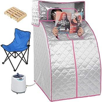 Portable Sauna Cabine Thermique Pliable Th/érapeutique Spa 1200W Rose Flyelf
