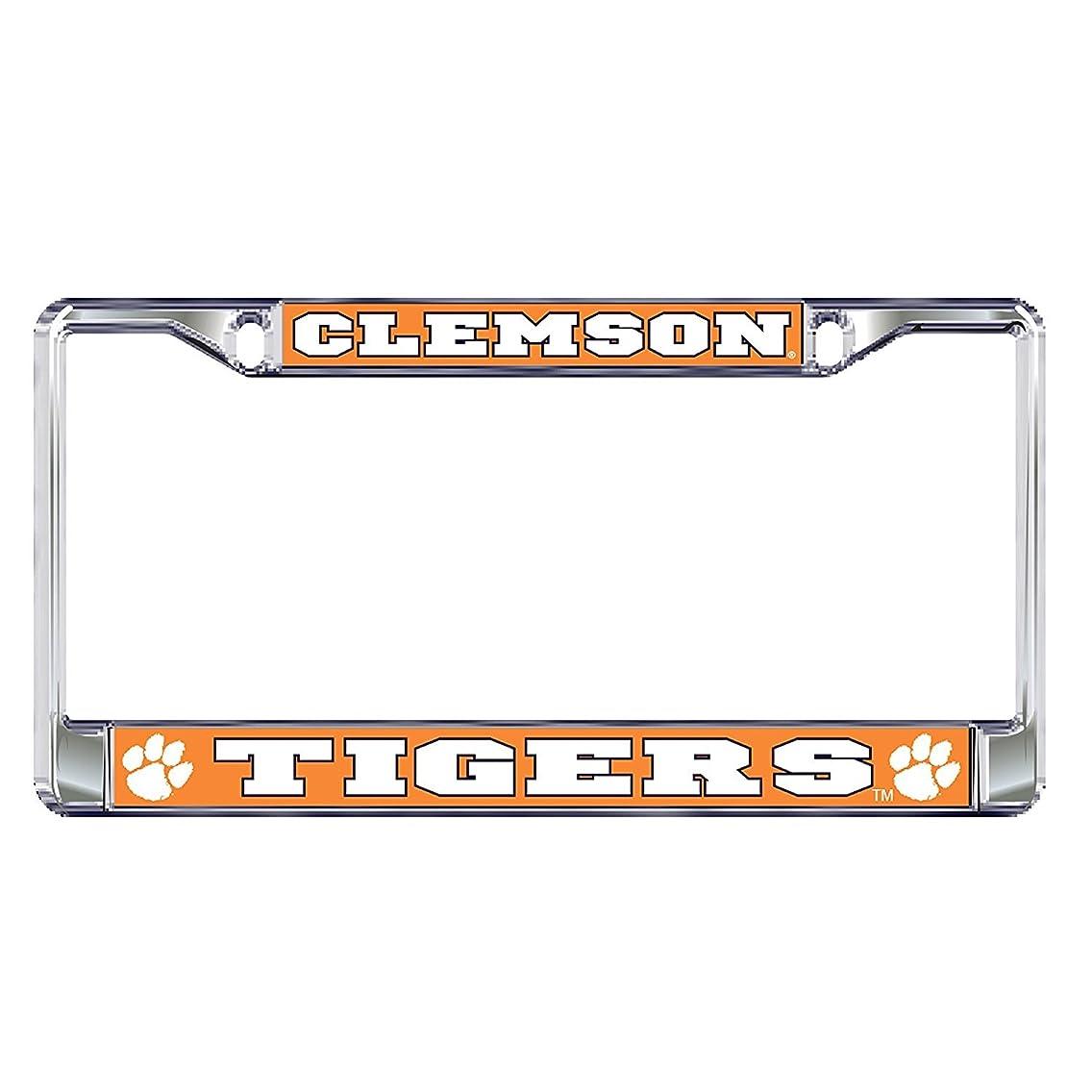Clemson University Tigers Silver Metal License Plate Frame