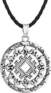 Jinleansu Slavic Kolovrat Pendant Wheel Amulet and Talisman Pagan Mens Womens Necklaces Jewelry Gift