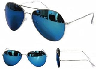 PURECITY© - Lunettes de Soleil Aviateur Pilote FBI - Monture Métal Argenté Verres Miroir Bleu - Homme Femme Tendance