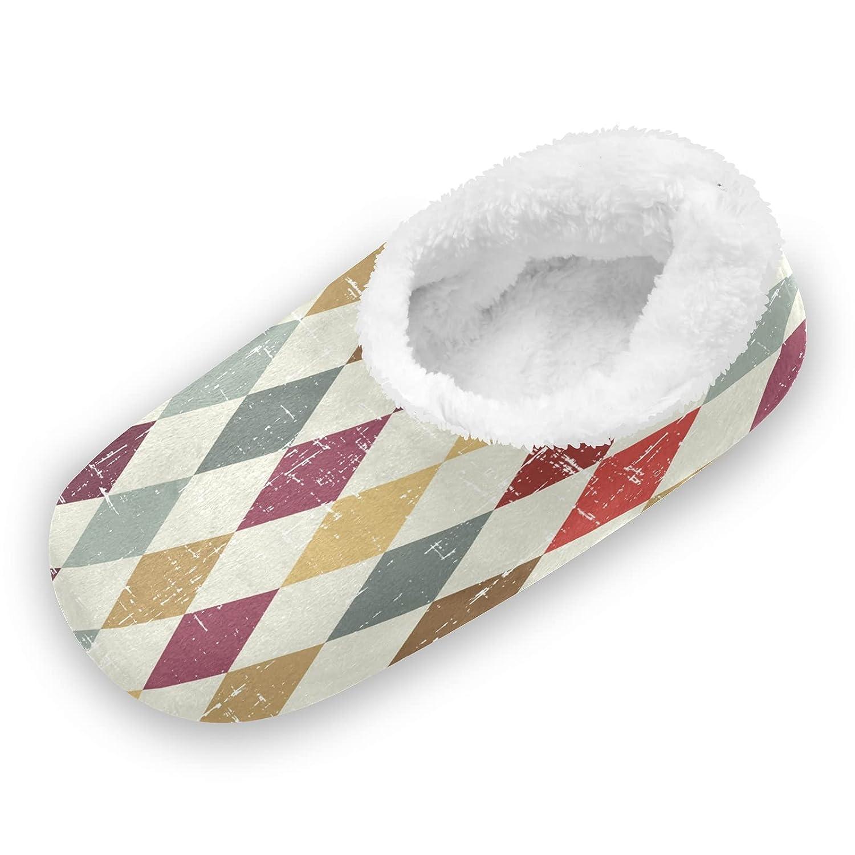 Philadelphia Mall Vintage Geometric Pattern Fuzzy Fort Worth Mall Feet Women for Cute Co Slippers