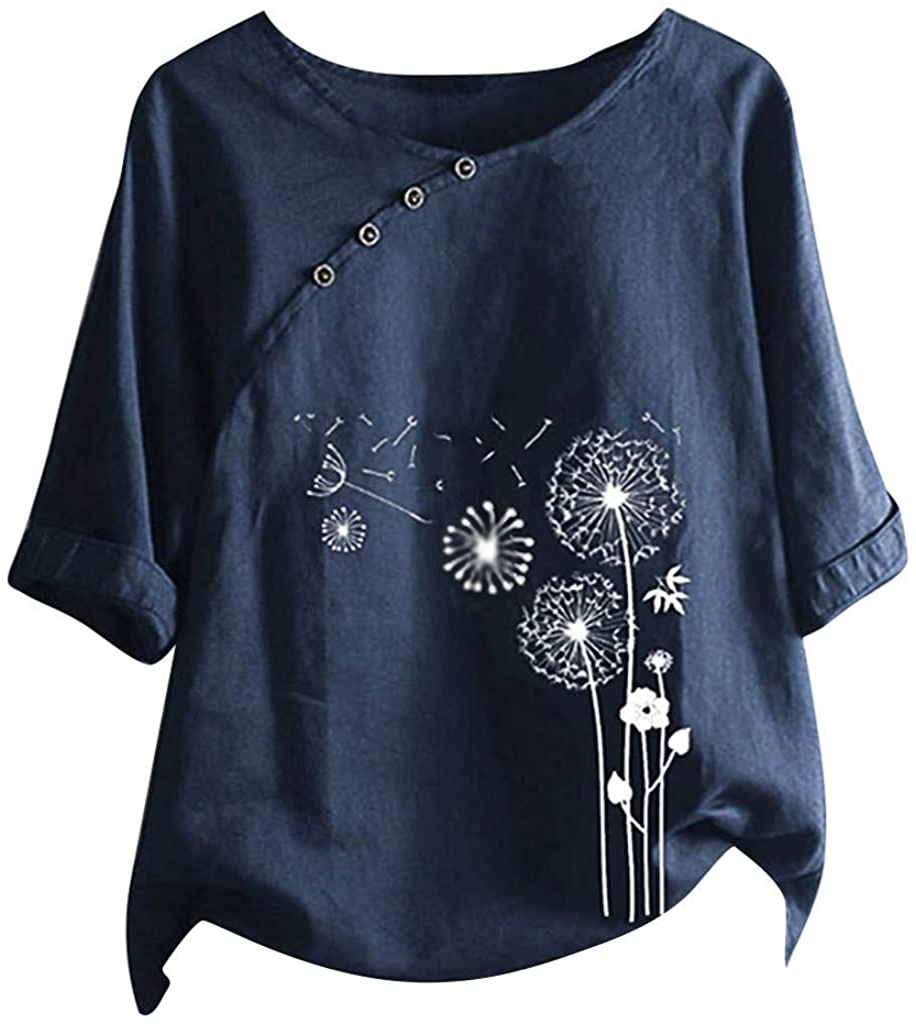 Cotton Linen Tops for Women 3/4 Sleeve Dandelion Graphic Print Crewneck Vintage Blouse Shirts Tops Plus Size S-5XL