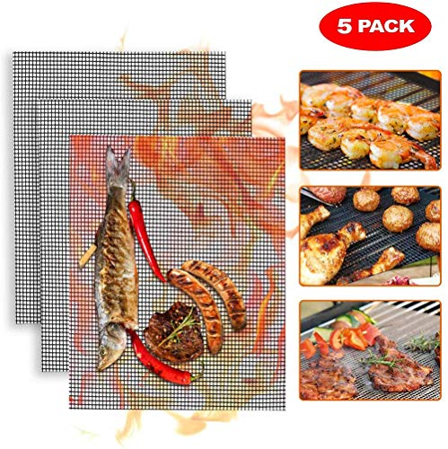 QYHSS 5er BBQ Grillmatte, 100% Antihaft Wiederverwendbar Grillmatten Backmatten, Dauer-Backmatten, für Gasgrill & Holzkohlegrills mit Antihaftbeschichtung (40 * 33 cm)