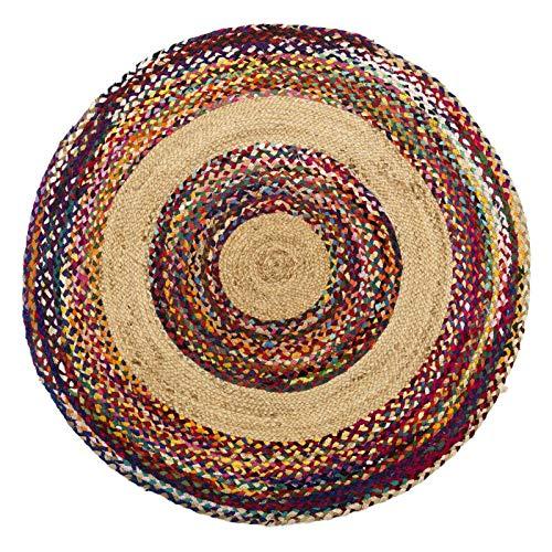 Tapis Multicolore Jute/Coton 120 * 120 - SOTALI - L 120 x l 120 x H 0.5 - Neuf