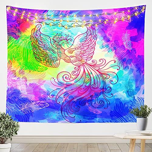 Homemissing Phoenix Tapiz para niñas y niños, manta de pared de animales mágicos de plumas para colgar en la pared, acuarela, habitación agradable, manta grande de 58 x 79