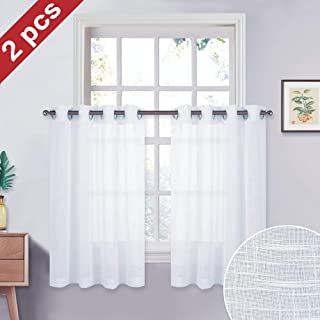 NICETOWN Sheer Curtains Window Valances - Translucent Drapes Semitransparent Voile Short Panels with Grommet Top for Loft/Bathroom(White, 52 inches Wide x 36 inches Long, 2 Pieces)