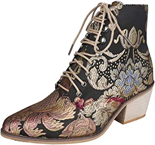 Women Lace Up Martin Ankle Boots, Ladies Low Block Heels Winter Embroidered Motorcycle Boots
