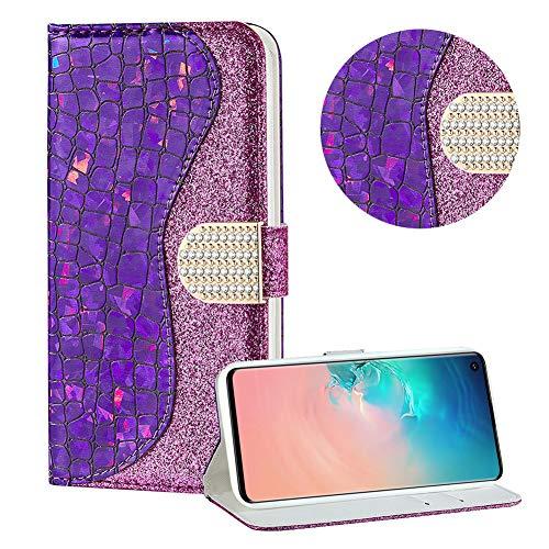 Diamant Brieftasche Hülle für Galaxy S10,Lila Wallet Handyhülle für Galaxy S10,Moiky Ultra Dünn Stilvoll Laser Glitzer Farbe Block Klappbar Stand Silikon Handytasche