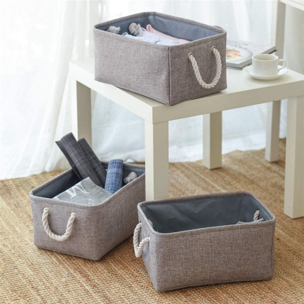 Syeeiex Blue White Material Storage Baskets in Bedroom Nursery Toy Storage for Shelve Collapsible Storage Box with Cotton Handles 3-Set,38x26x24cm Bathroom and Living room