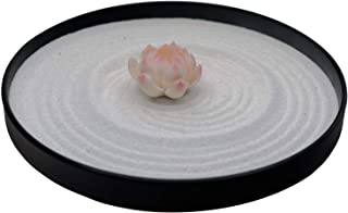 ICNBUYS Mini Zen Garden Pink Lotus Set Table Top Office and Home Decoration with Free Rake and Pushing Sand Pen Base Tray Diameter 9.4 inches