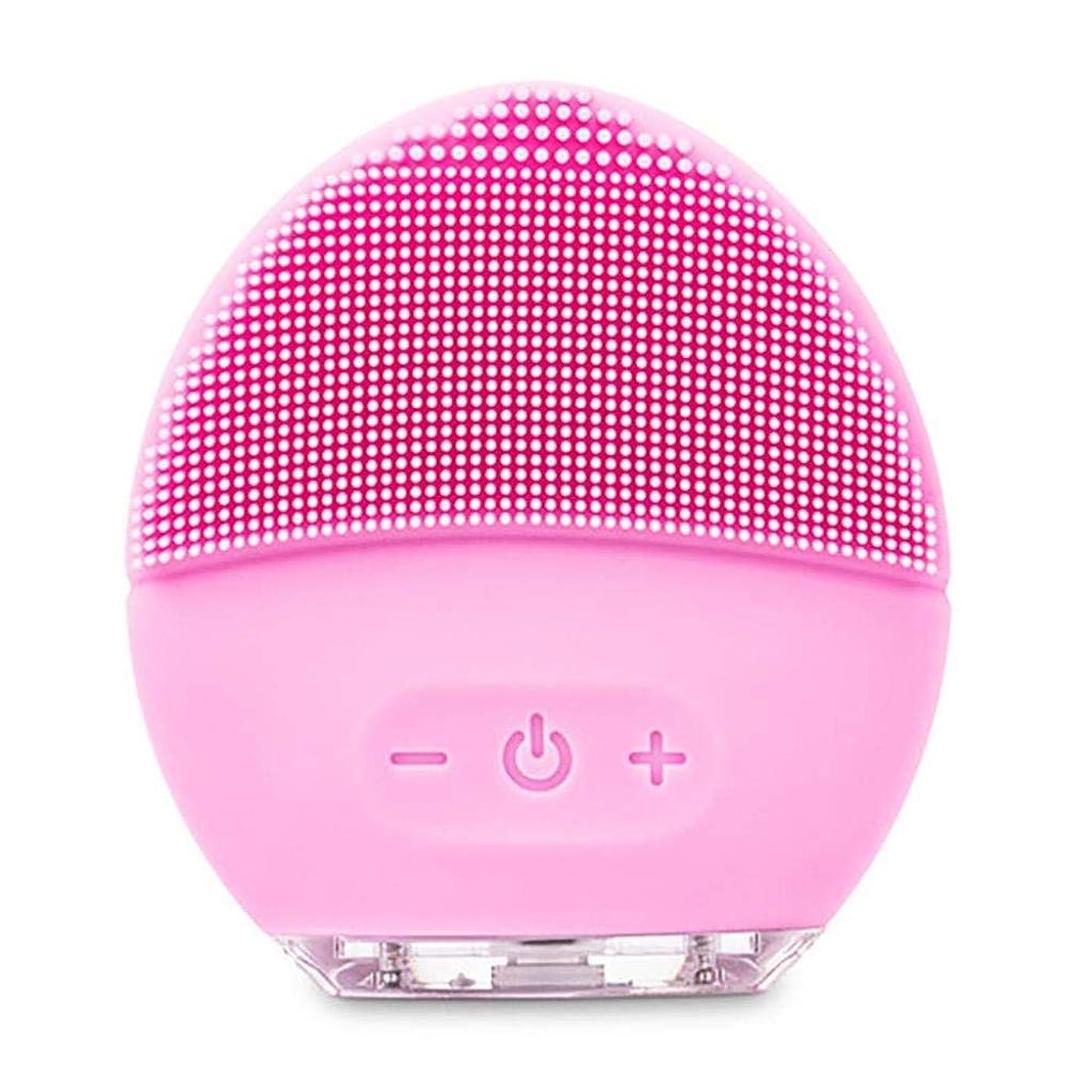 師匠郊外モスクレンジングマッサージ器、電動洗顔ブラシ、シリコーン美顔器、ファーミング肌、アンチエイジングスクラッチクレンザー (Color : ピンク, Size : One size)
