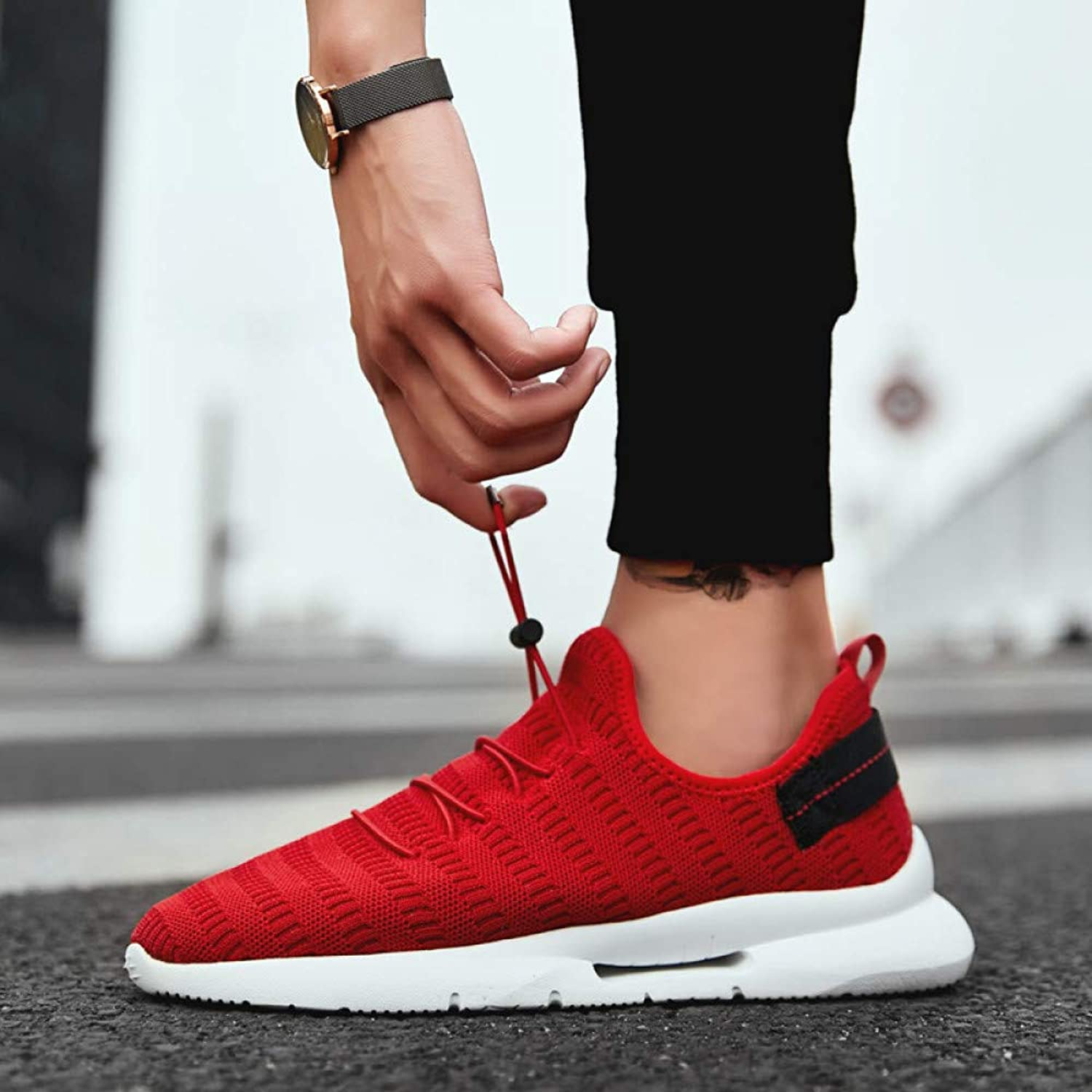 WDDGPZYDX Summer Red Men soft casual shoes sports shoes Fashion Lightweight male Comfortable Breathable shoe Leisure Footwear