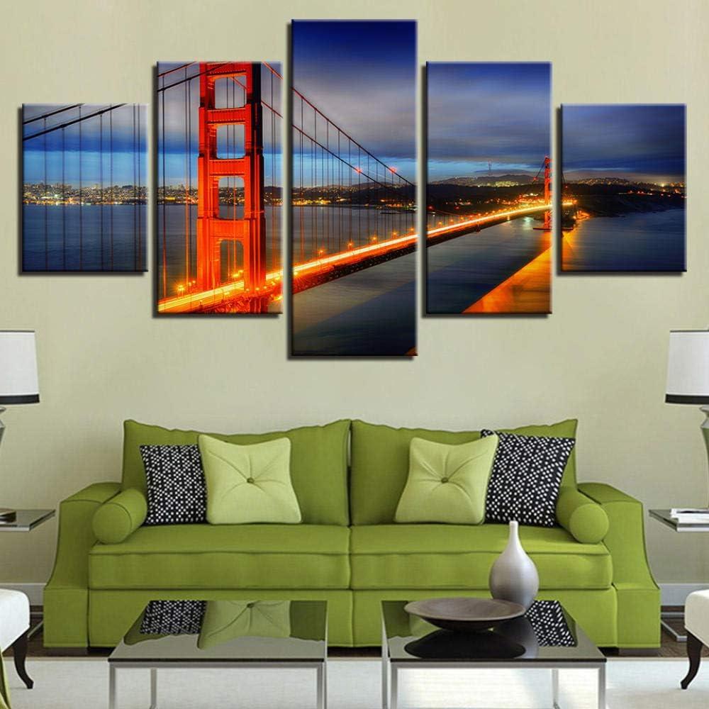 Cuadro En Lienzo Arte De 5 Piezas Impresion en Calidad fotografica impresi/ón art/ística Imagen gr/áfica Decoracion de Pared Puente Rojo 150x80cm Marco