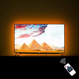 Hamlite TV LED Backlight 65 Inch TV Bias Lighting USB LED Light Strip for 60 65 Inch TV Mood Light with RF Remote, Cover 4/4 Sides TVs Without Dark Spot, 18 Colors, 6 Dynamic Modes, 13.1 Feet