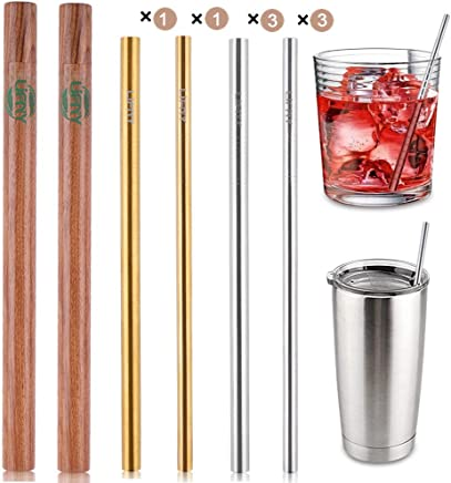 8Pcs Reusable Smoothie Straws Stainless Steel Straws Set of 8 with 2 Handcrafted Wooden Cases+ 4Pcs Cleaning Brushes+ 1 Linen Storage Pouch Eco Friendly Straws for Yeti/Ozark