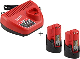 Topbatt Replacment M12 2.0Ah Battery and Charger for Milwaukee 10.8V-12V Lithium Ion 48-11-2440 48-11-2402 48-11-2411