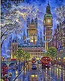 QHZSFF Pintar por Numeros Adultos Calle de Londres Kit de Pintura al óleo de Bricolaje para niños Principiantes,Lienzo preimpreso de con Pinceles y Pigmento acrílico 40x50cm-Sin Marco