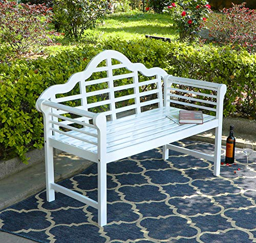 """achla outdoor benches PHI VILLA Outdoor Garden Bench, 53""""L Acacia Wood Bench with Backrest and Armrests, Modern Design for Patio, Lawn, Balcony, Backyard, Porch and Indoor - Pearl White"""