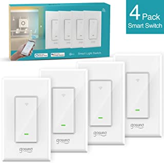 Smart WiFi Light Switch, Gosund 15A In-wall Wifi Switch that Works with Alexa and Google Home, Single-Pole, Neutral Wire Needed, No Hub Required, ETL and FCC Listed,4 Pack White