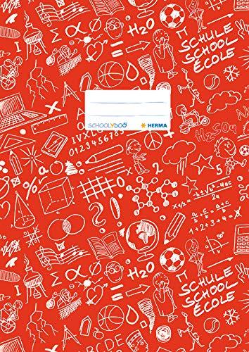 HERMA 19403 Heftumschlag DIN A4 SCHOOLYDOO, mit Beschriftungsetikett, aus strapazierfähiger und abwischbarer Polypropylen-Folie, 1 Heftschoner für Schulhefte, rot