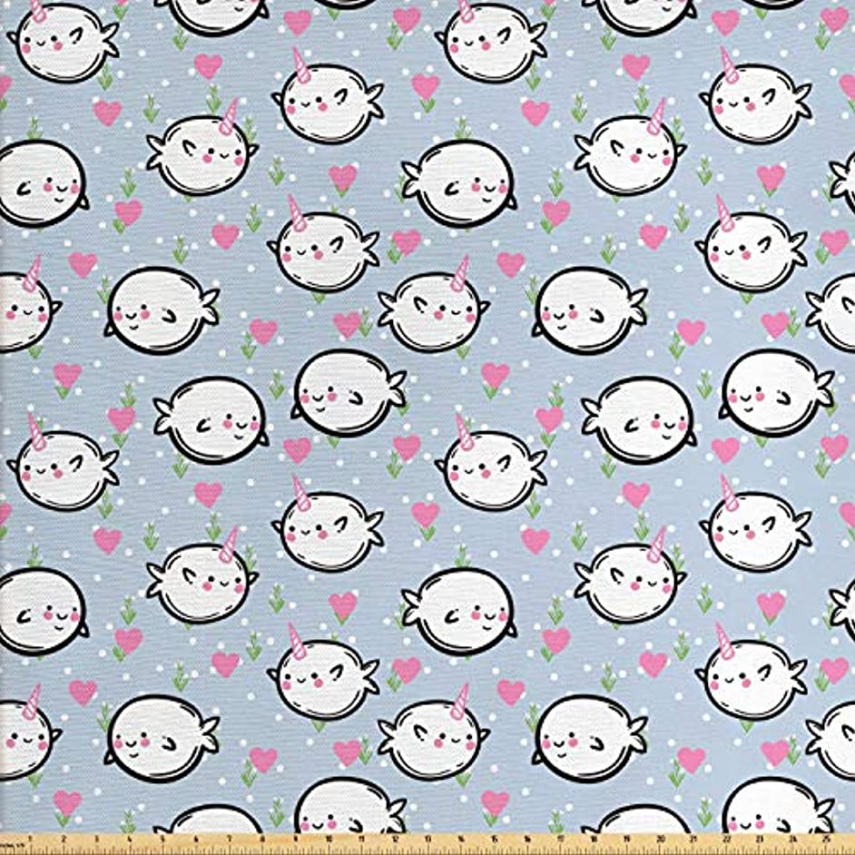 Ambesonne Narwhal Fabric by The Yard, Colorful Polka Dotted and Heart Pattern Background with Cartoon Character Whales, Decorative Fabric for Upholstery and Home Accents, 2 Yards, Multicolor