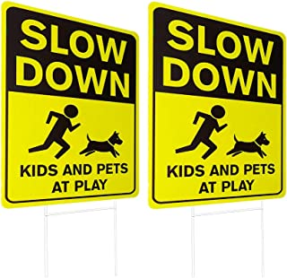 WaaHome 2 Pack Double Side Slow Down Signs with Metal Wire H-Stakes, 12''X17'' Kids and Pets at Play Yard Sign