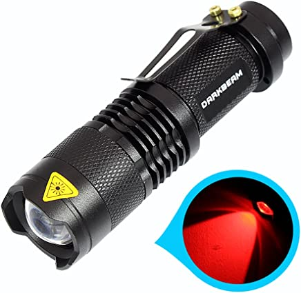 Mini Bright Flashlight LED Handheld Flashlights Portable Zoomable Red Light Pocket Tactical Torch With Clip Water Resistant 3 Modes Adjustable Focus For Hiking, Camping, Outdoor, Hunting
