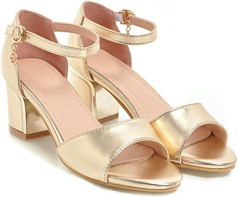 YuJi Sandals High Heels Ladies Summer shoes Peep Toe Block Heels Party shoes Silver Buckle,gold,3