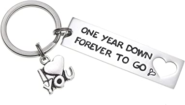 Melix Home One Year Down Forever to Go Keychain Two Three Four Years Down Boyfriend Girlfriend Keyring Husband Wife Couple...