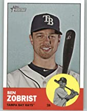 2012 Topps Heritage #430 Ben Zobrist NM-MT SP Tampa Bay Rays Official MLB Baseball Card