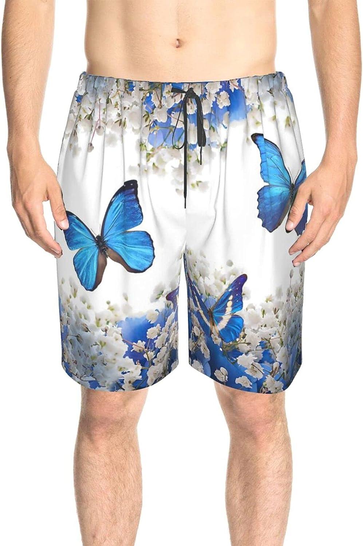 JINJUELS Mens Bathing Suits Flowers Butterflies Blue Swim Short Boardshort Quick Dry Comfy Swimwear Beach Shorts with Liner