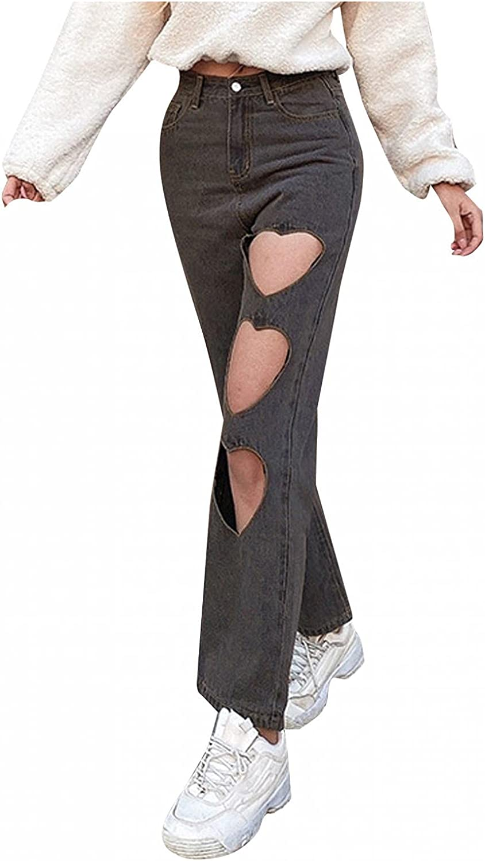 MASZONE Ripped Jeans for Women, Womens Y2K Fashion High Waist Heart Ripped Jeans Stretch Casual Denim Pants Streetwear
