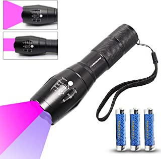 UV Flashlight LED Black Light 395nm Handheld Flashlights Zoomablle 365nm Double Lamp Ultraviolet Blacklight Detector for Dog/Cat Urine, Pet Stains and Bed Bug