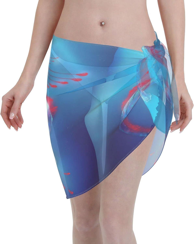 Love Animal Women Short Sarongs Beach Wrap,Women's Amazing Regalecus Fish Sheer Bikini Wraps Chiffon Cover Ups for Swi