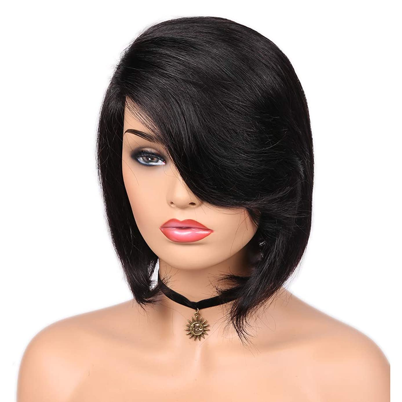 Quantum Love Lace Part Human Hair Wigs with Bangs Side Part Straight Brazilian Virgin Human Hair Wig Short Bob Natural Color Wig for Women