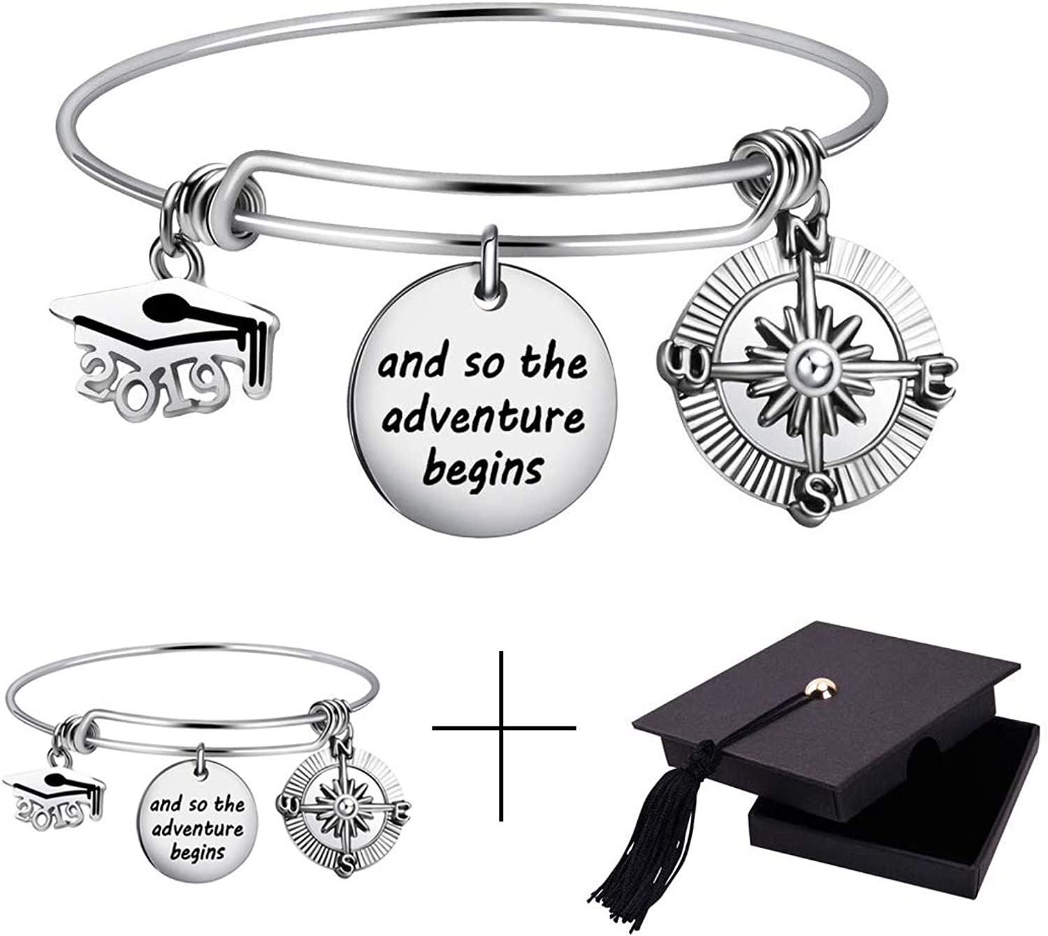 2021 Graduation Max 85% OFF Gift Cap Compass All items in the store Bracelet Bangle Expa
