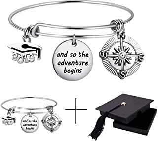 Class of 2019 Graduation Gift Graduation Cap Bangle Bracelet Compass Expandable Bracelet Inspirational Jewelry for Women She Believed She Could So She Did