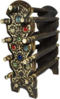 12 Star Handmade Wooden Bangle Rods Holder Beautifully Crafted Foldable Jewellery Stand for Women (Black)