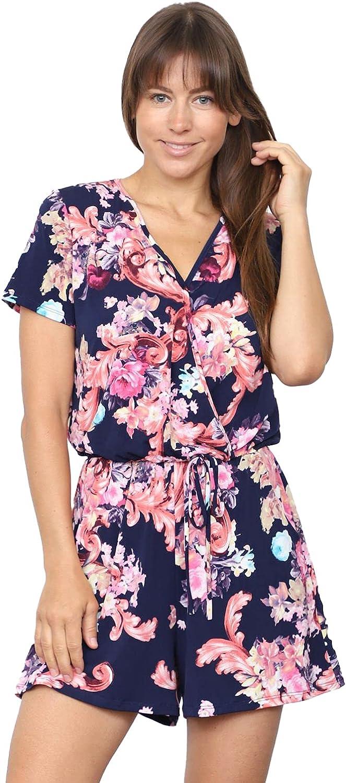 Floral Max 88% OFF Tie Austin Mall Dye Short Sleeve Plus Reg Surplice Romper