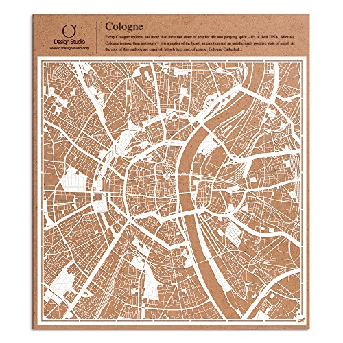 Köln Scherenschnitt Karte, Weiß 30x30 cm Papierkunst