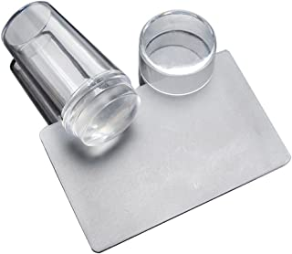yueton Clear Jelly Soft Silicone Nail Art Stamping Stamper with Cap Scraper Image Plate Manicure Tools DIY Polish Kit