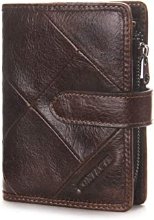Mens Brown Leather Trifold Wallet - Wallet for Men with Zipper Slim - Money Clip Wallets for Men with ID Window - Includin...
