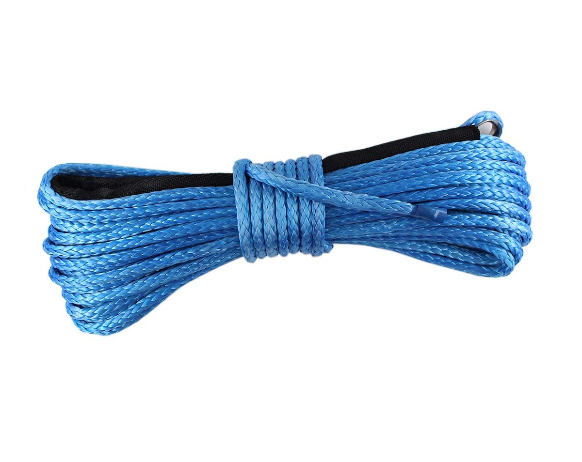 Durable 7000 LBS for ATV UTV KFI Vehicle Car Motorcycle 1//4 /× 49.2 ft Synthetic Winch Rope Blue